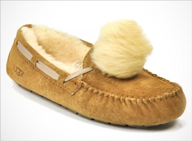 Dakota Genuine Shearling Pompom Slippers