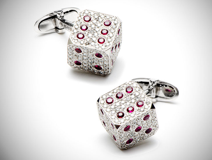 Diamond & Rubies Dice Cufflinks - cool cufflinks