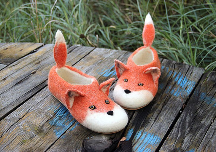 Eco Wool Red Fox Slippers