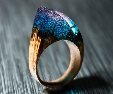Enchanting Natural Wood Resin Rings