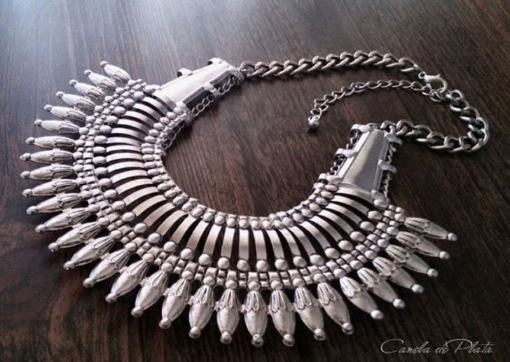 Ethnic Silver Tribal Statement Necklace