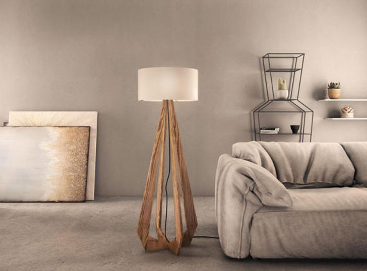 Flame Wooden Elegance Lamp