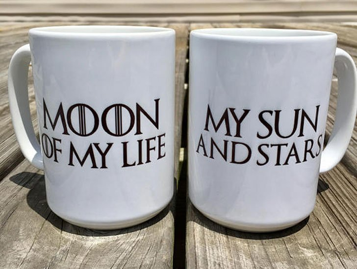 "Game of Thrones ""Moon of My Life, My Sun and Stars"" Couple's Coffee Mugs"