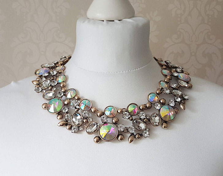 Gold & Iridescent Rhinestone Statement Necklace