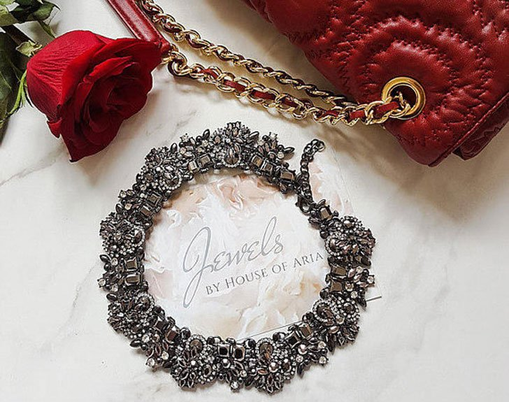 Graphite Embellished Statement Necklace