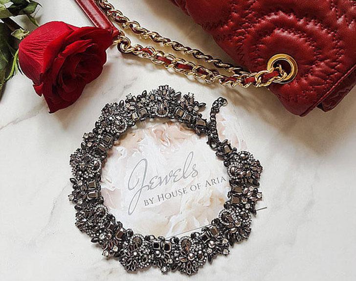 Graphite Embellished Statement Necklace