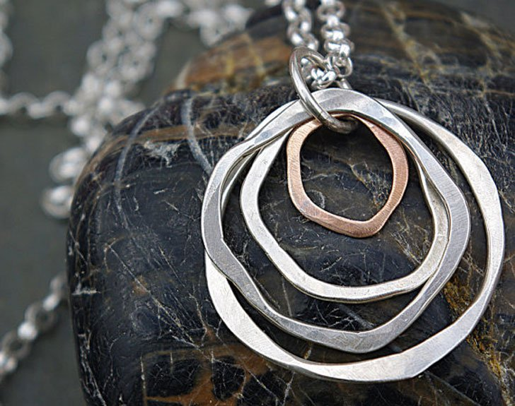 Hammered Circle Statement Necklace
