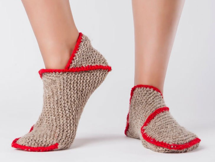 Hand Knitted Wool Sock Slippers