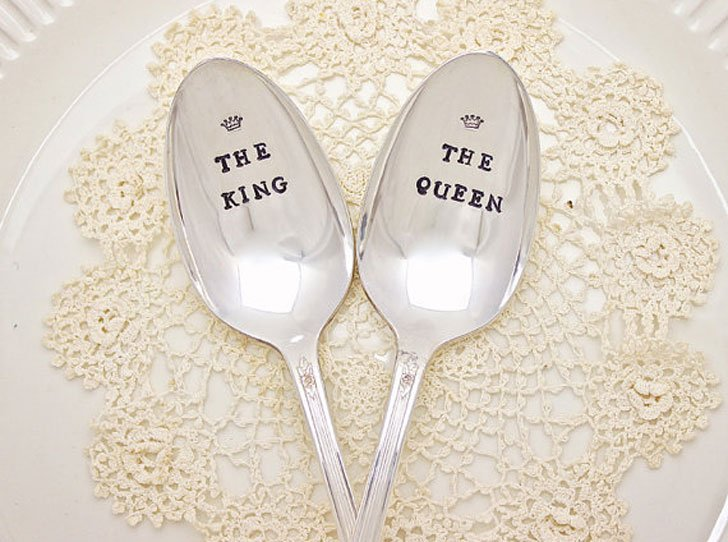 Hand Stamped His and her Spoon Set