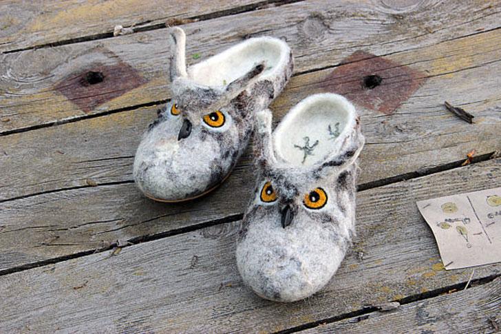 Handmade Felted Owl Slippers
