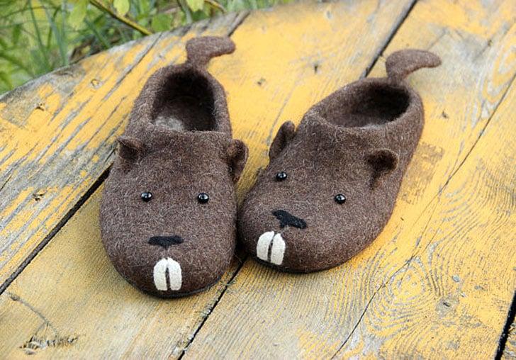 Handmade Funny Beaver Slippers