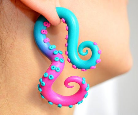 Harley Quinn Octopus Tentacle Earrings