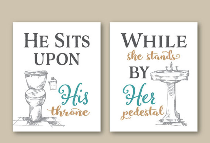 His Her Bathroom Wall Art Prints