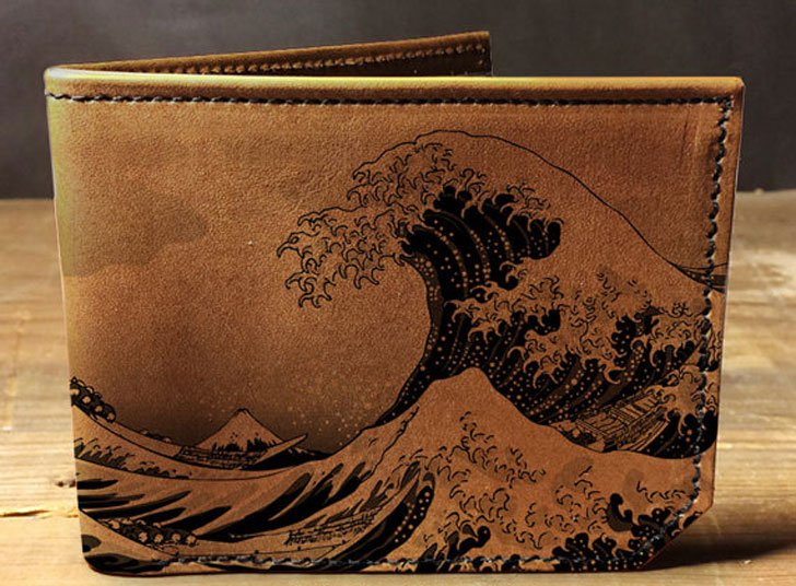 Japan Waves Leather Wallet