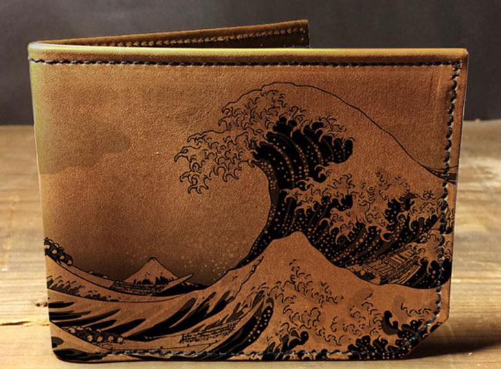 Japan Waves Leather Wallet