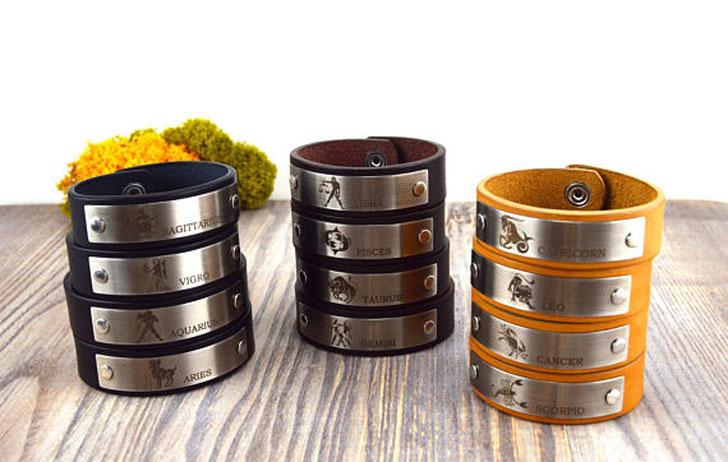 Leather Constellation Astrology bracelets