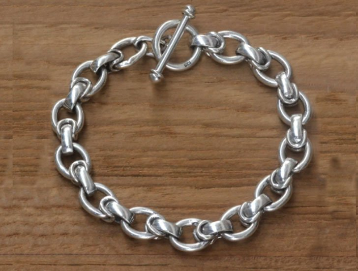 Men's Brave Knight Sterling Silver Link Bracelet