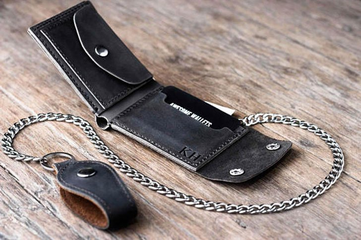 Men's Dark Leather Bikers Wallet With Chain
