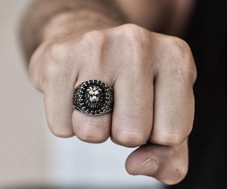 Men's Sterling Silver Lion Ring