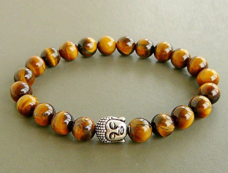 Men's Tiger's Eye Beaded Stretch Bracelet