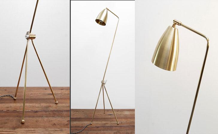 Mid Century Modern Solid Brass Grasshopper Floor Lamp