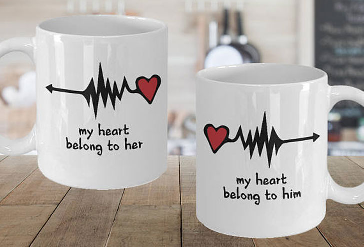 My Heart Belongs To Him and Her Couple Mugs