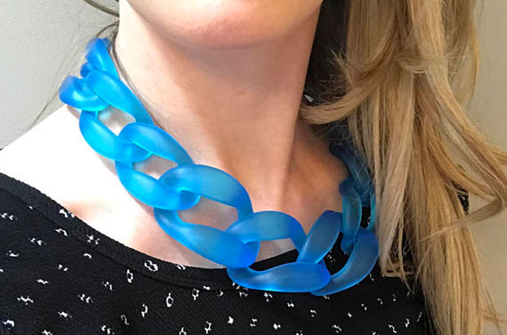 Ocean Blue Chunky Chain Statement Necklace