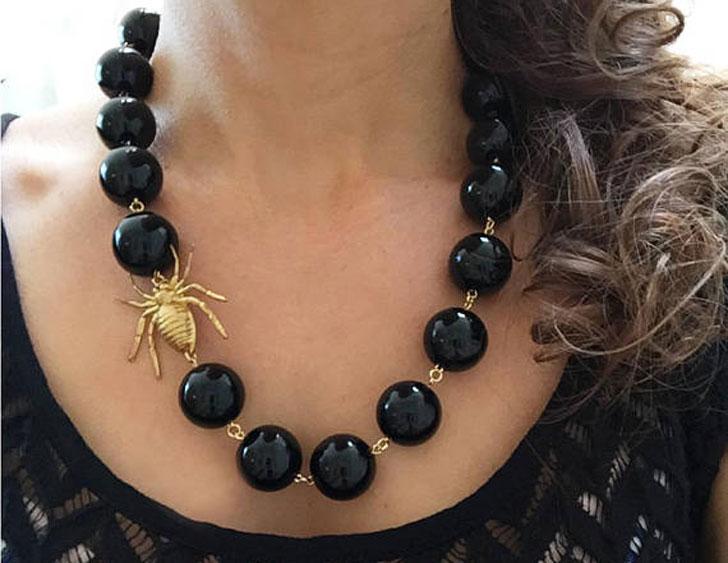 Onyx Spider Statement Necklace