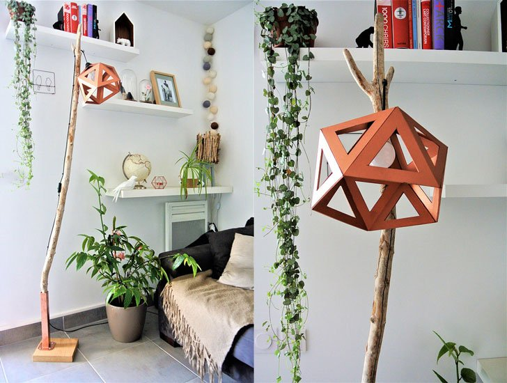 Origami Copper Floor Lamp