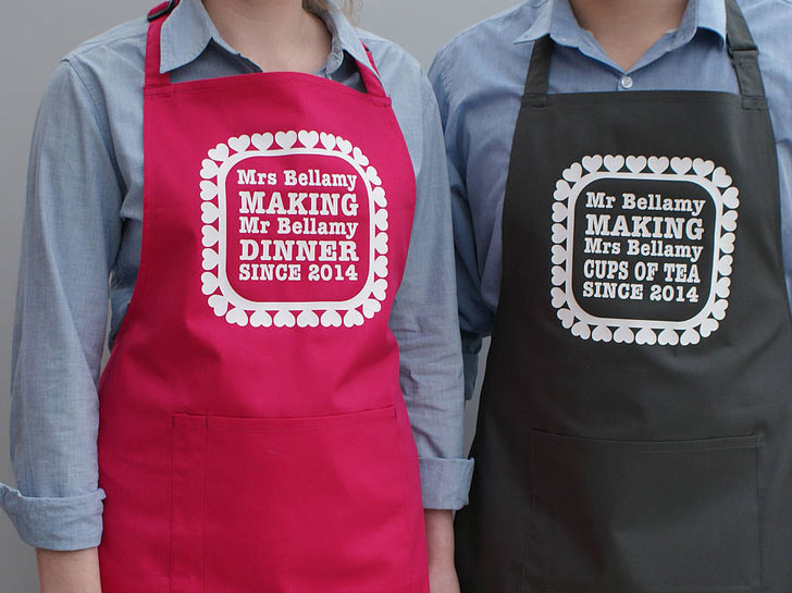 Personalised His and Her's Cooking Aprons