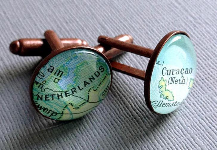 Personalised Silver Map Cufflinks - cool cufflinks