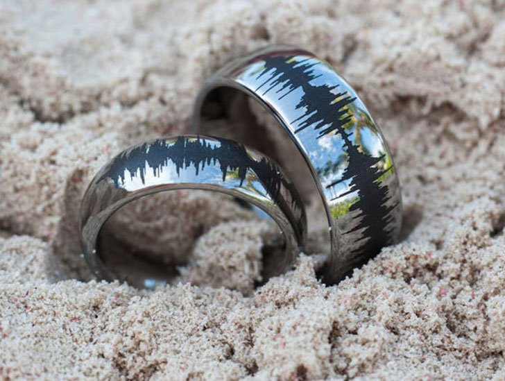Personalised Soundwave Tungsten Couples Rings
