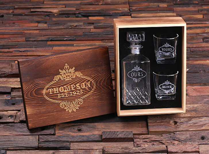 Personalized Engraved Etched Decanter Set