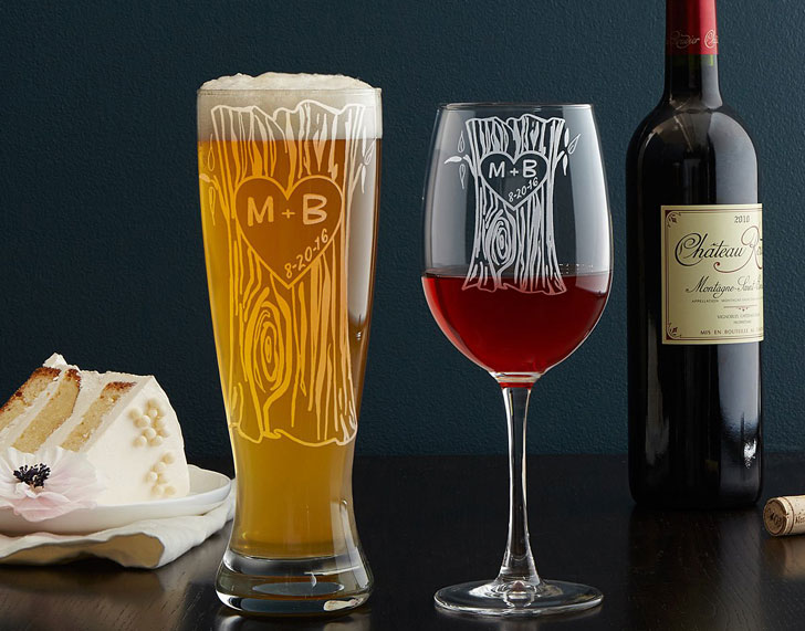 Personalized His & Hers Beer & Wine Glass Set
