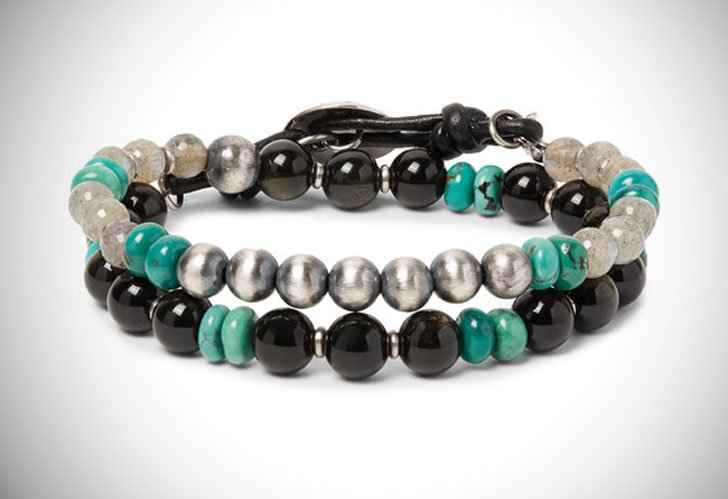Peyote Bird Obsidian Turquoise and Sterling Silver Wrap Bracelet