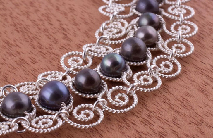 Princess Lace Unique Fine Silver Pearl Statement Necklace