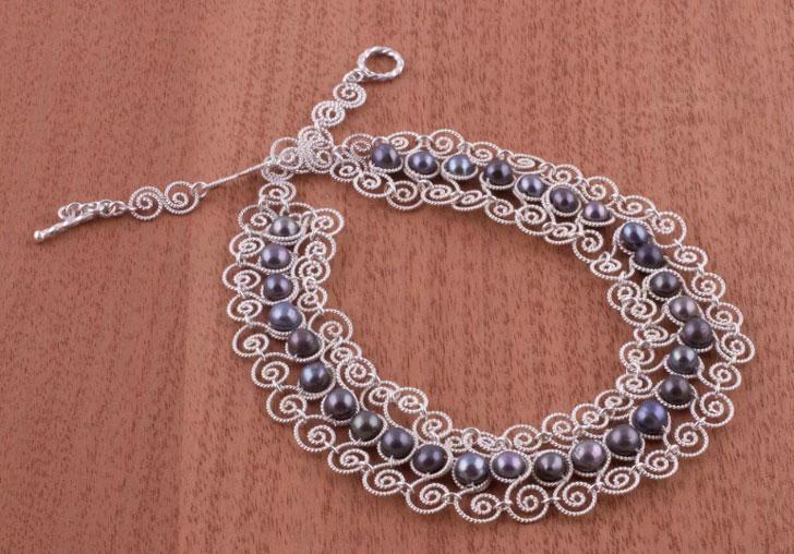 Princess Lace Unique Fine Silver Pearl Statement Necklace