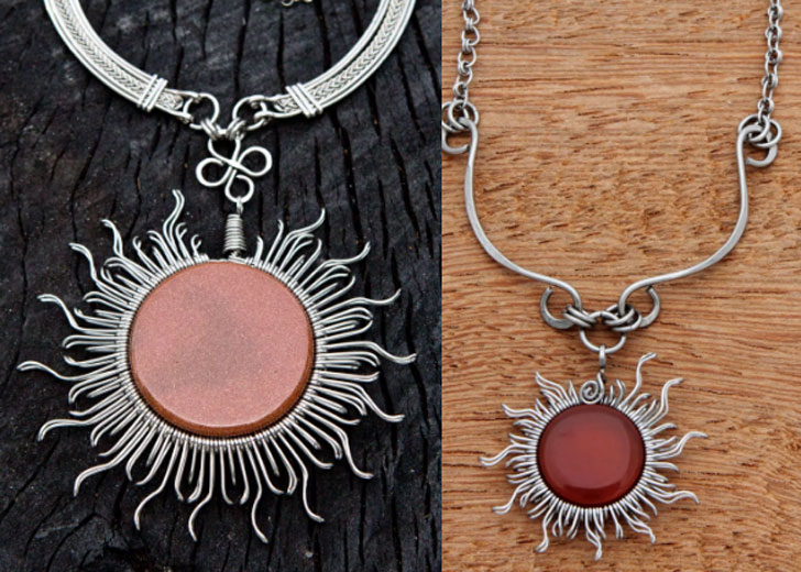 Rays of the Sun Brazilian Goldstone Statement Necklace