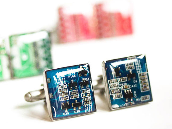 Real Circuit Boards Cufflinks