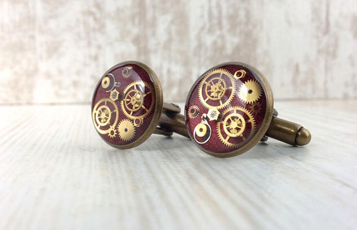 Red Gear Cog Cufflinks - cool cufflinks