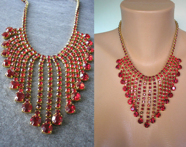 Red Rhinestone Statement Necklace