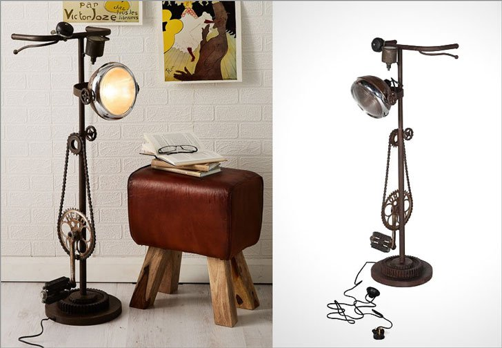 Retro Vintage Industrial Upcycled Bicycle Standing Floor Lamp  - cool floor lamps