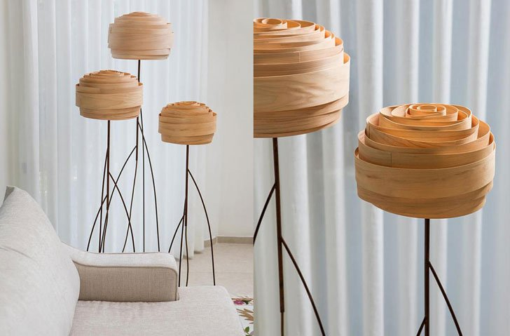 Roza Maple Veneer Floor Lamp - cool floor lamps