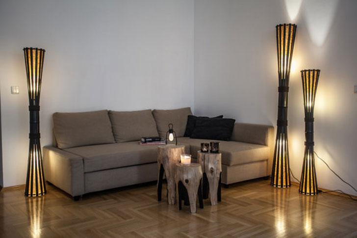 Rustic Bamboo Floor Lamp