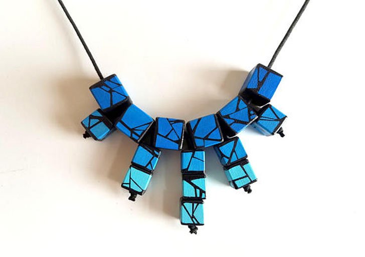 Shades of Blues Wood Necklace