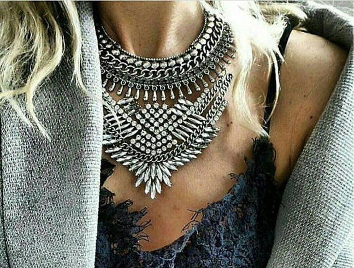 Silver Dylanlex Boho Statement Necklace