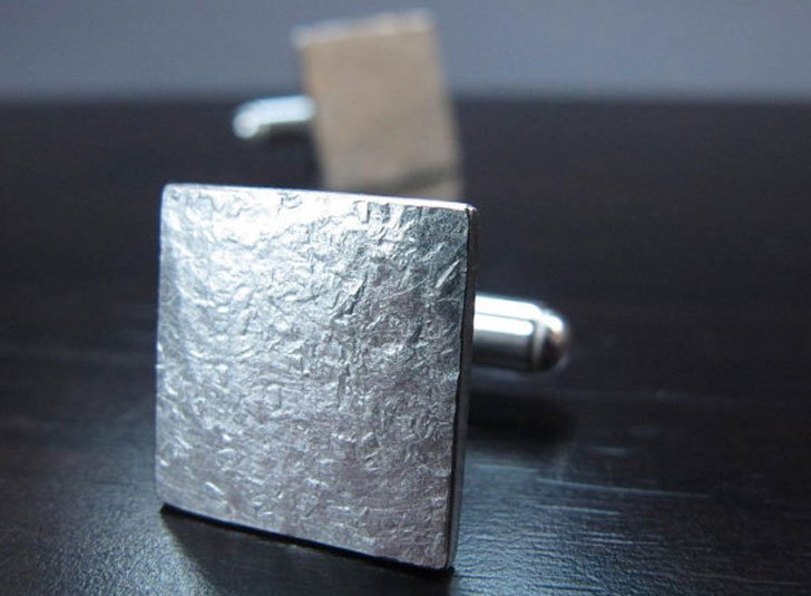 Square Hammered Silver Cufflinks