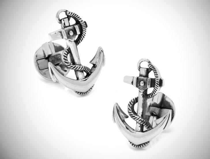 Sterling Silver Boat Anchor Cufflinks - cool cufflinks