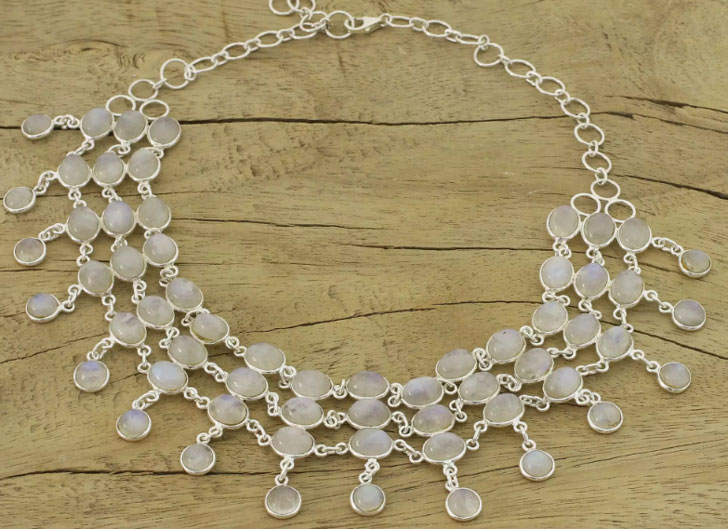 Sterling Silver Rainbow Moonstone Statement Necklace
