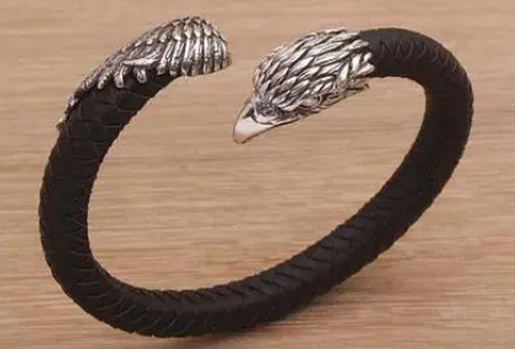 Sterling Silver and Leather Eagle Bracelet